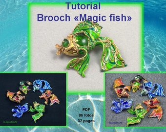 "Polymer clay tutorial ""Brooch magic fish"" PDF tutorial Digital turorial PDF format Fish tutorial Brooch tutorial"