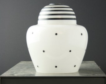 1960s Black and white striped and spotted glass light shade