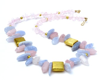 Chalcedony Nugget and Rose Quartz Prism Necklace