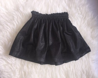 Faux Leather Gathered skirt, gathered skirt, leather, skirt, black