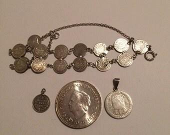 Set of 4 Dutch Sterling coins/pendants 1848 through 1970