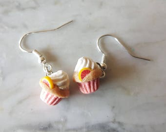 Pink Grapefruit Cupcake Earrings