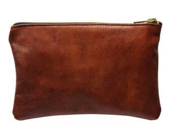 Leather zip pouch cognac coloured