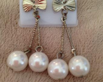 Vintage pearl droplet Dress Earrings