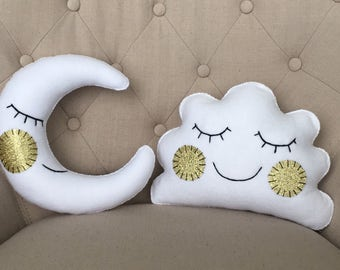 Sleeping moon and cloud throw pillows, Moon throw pillow, cloud throw pillow, children's bedroom decor, nursery room, kids decor, pillow