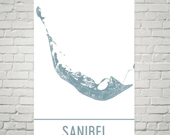 Sanibel Island Map, Sanibel Art, Sanibel Print, Sanibel Island Poster, Sanibel Wall Art, Map of Sanibel Island, Sanibel Gift, Decor, Art