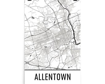 Allentown Map, Allentown Art, Allentown Print, Allentown PA Poster, Allentown Wall Art, Map of Allentown, Allentown Gift, Allentown Decor