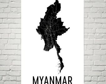 Myanmar Map, Map of Myanmar, Burmese Art, Burmese Decor, Myanmar Gift, Myanmar Print, Myanmar Poster, Myanmar Wall Art, Myanmar Art, Gifts