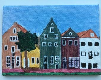 Mini painting, acrylic on canvas. 9 x 6,5 cm
