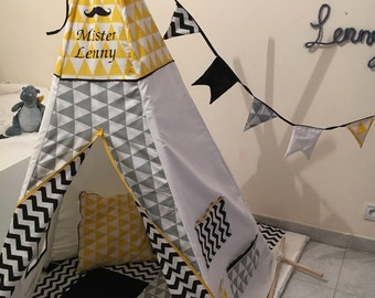 Indian tent, teepee mister personalized geometric black and grey, yellow cabin, kids play area