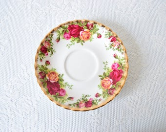 Orphan Saucer, Royal Albert, Vintage Bone China, Replacement China, Art Project Material, Old Country Rose Pattern, c 1960 s