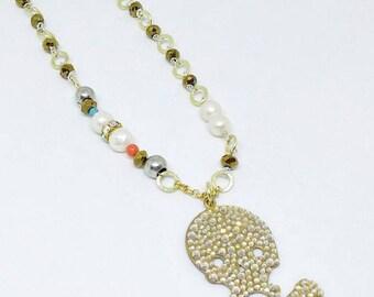 Skull pendant, Skull necklace, Short necklace, Gold necklace, Beaded necklace, Pearl necklace, Czech crystal skull pendant necklace!