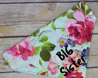 Pregnancy Announcement / Dog Bandana / Big Sister Dog Bandana / Big Sister Cat / Floral Bandana / Over the Collar / Pet Bandana