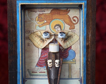 Winged eyes shadow box. Reliquary, curiosity box, assemblage