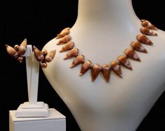 Renoir 1950s Copper Seed Vintage Jewellery Set