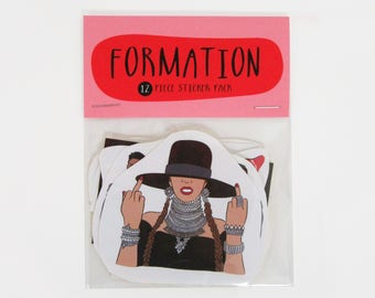 FORMATION 12 pc sticker set, Beyonce sticker pack, Beyonce stickers, Beyonce Formation, Beyonce lemonade, Formation tour,I slay, Hot Sauce