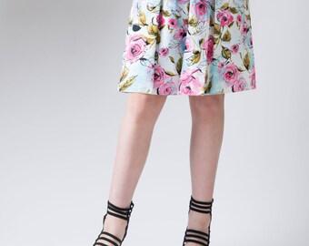 Women's skirt, front pleat skirt, botanical A-line skirt, floral print skirt, rose flower detail, women's fashion, graphic skirt, skirt
