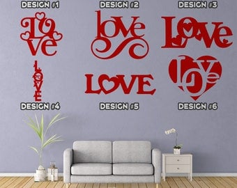 Love Decals - 24 Designs - Vinyl Wall Decals - Multiple Colors - Amor - Valentine - Marriage - Couples