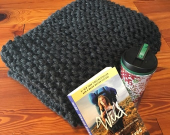 Charcoal Chunky Knit Throw Blanket