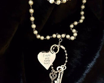 Keys and Heart Pendant on Faux Pearl Neckalce