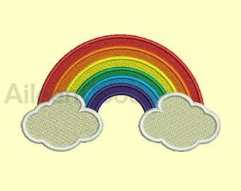 Rainbow Cloud Embroidery design 7 Size INSTANT download machine embroidery