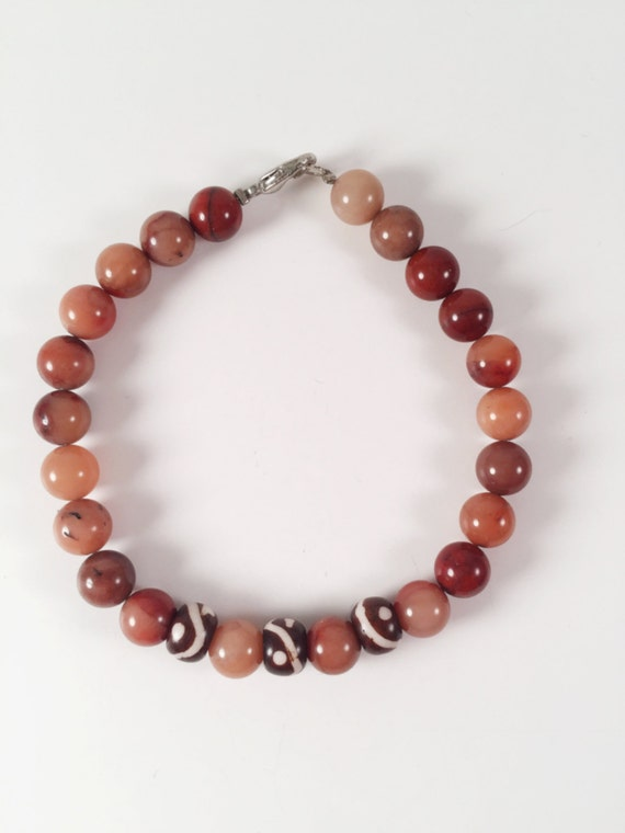 Red Agate and Painted Wood Beaded Bracelet, Gemstone Bracelet, Natural Bracelet, Bead Bracelet, Yoga Bracelet, Mala Bracelet, Gift For Her
