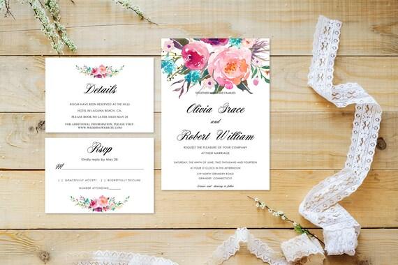 Floral wedding invite word_42,INSTANT DOWNLOAD, Editable Wedding template invitation. Microsoft Word template.Wedding Printable