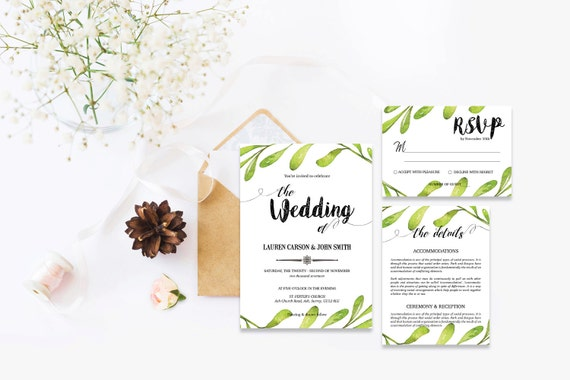 Watercolor leaf wedding invite_2,Printable Wedding Invitation Suite,Wedding Invite Set,Wedding Printable,Calligraphy
