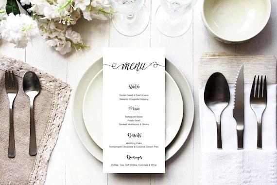 Menu word template,table menu, word template, weddings, editable menu card, napkin menu insert,calligraphy