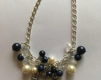 Beautiful Swarovski Pearl and Crystal Bracelet with Lapis Luzuli.