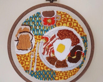 Hand embroidered retro english breakfast