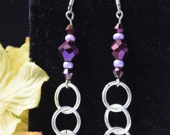 Purple and silver hoop dangle earrings