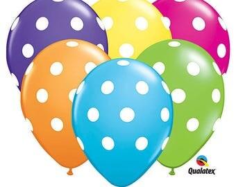 """Polka Dots Latex Balloons Tropical colors 5"""" or 11"""""""