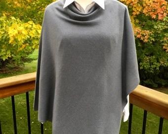 Cashmere Poncho-Medium Gray