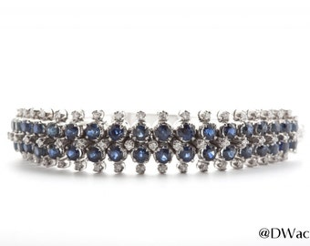 Sapphire and Diamond 18k White Gold Bracelet