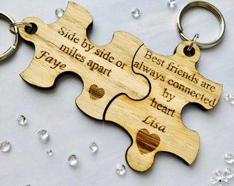 Best friend keyring, friend gift, best friend gift, personalised friendship present, puzzle piece keyrings, personalised sister keyrings
