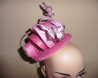 Pink Fascinator ,Butterflies,weddings,Ascot Races,Occasions ,hat,HarlequinFascinators