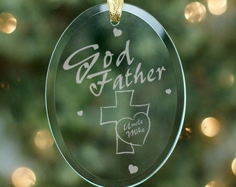 Personalized Godfather Glass Ornament - Personalized with Name