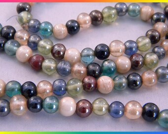 Vintage Necklace, Small Glass Beads in Muted Colors