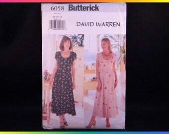 Butterick Sewing Pattern 6058, Size 14-16-18 David Warren Easy Misses' Dress, Uncut