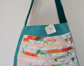 blue hand painted cloth bag pockets