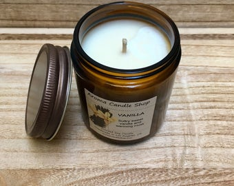 8oz VANILLA Scented Soy Aroma Candle