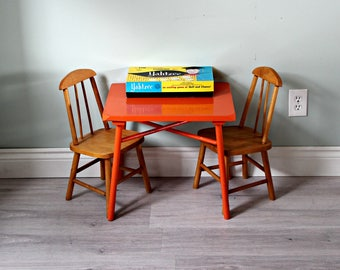 Mid-century Kids Table and Chair Set