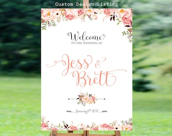 Bohemian Wedding Sign, Wedding welcome Sign, Welcome Wedding Sign, Floral Wedding Sign, Customized Sign, Custom sign - US_WS0109a