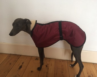 Burgundy Fleece Lined Waterproof Dog Coat 5 SIZES with Adjustable Clip Strap Whippet/ Greyhound/ Lurcher/ Italian Greyhound/ Sighthound