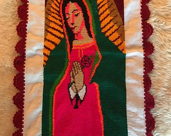 Handstitched Religious Embroidered Lace Tablecloth Wall Hanging