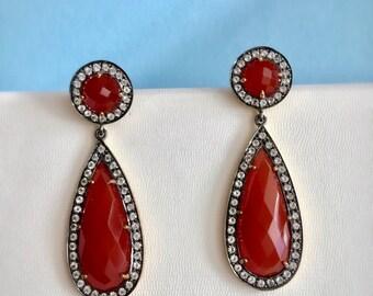 Natural Carnelian Earring. Dangle Drop Earrings. Orange Stone Earrings. Topaz Earrings. Sterling Silver Earrings. March Birthstone.