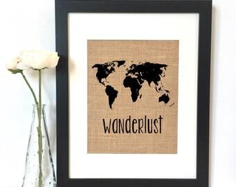 Wanderlust World Map Burlap Print