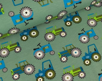 Cotton Jersey small tractors on grey-green (13,50 EUR / meter)