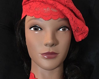 Bashebah Red Lace Beret